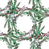 Winter seamless pattern. Elegant winter seamless pattern with holly berries and fir tree branches, design elements. Can be used for winter holiday invitations Stock Photos