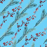 Winter seamless pattern. Elegant winter seamless pattern with holly berries and fir tree branches, design elements. Can be used for winter holiday invitations Stock Photo