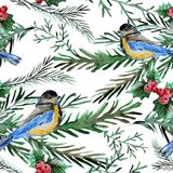 Winter seamless pattern. Elegant winter seamless pattern with watercolor birds and fir tree branches, design elements. Can be used for winter holiday invitations Royalty Free Stock Photography