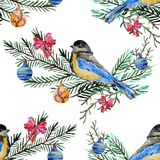 Winter seamless pattern. Elegant winter seamless pattern with watercolor birds and fir tree branches, design elements. Can be used for winter holiday invitations Royalty Free Stock Images