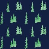 Winter seamless pattern emerald shain in forest royalty free illustration