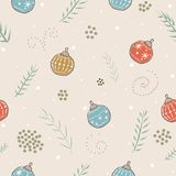 Winter Seamless Pattern with festive ornaments and branches of s. Pruce tree on subtle background. Great For swatches, fabric, wrapping/gift paper, wall art Stock Images