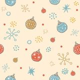 Winter Seamless Pattern with festive  ornaments. Hand Drawn Scan. Dinavian Style. Great for wedding cards, postcards, t-shirts, bridal invitations, brochures Royalty Free Stock Image