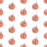 Winter Seamless Pattern with festive ornaments. Hand Drawn Scand. Inavian Style. Vector Illustration Royalty Free Stock Photo