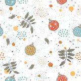 Winter Seamless Pattern with festive ornaments on subtle backgro Stock Photo