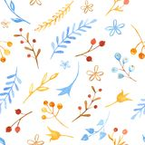 Winter seamless pattern with flowers, leaves, branches, berries. royalty free illustration