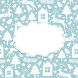 Winter seamless pattern and frame Royalty Free Stock Photo