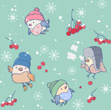 Winter seamless pattern of funny birds wearing hats royalty free stock photos