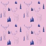 winter seamless pattern with glittering fir trees and deer in forest vector illustration