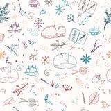 Winter seamless pattern. Winter hand drawn seamless pattern royalty free illustration