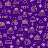 Winter seamless pattern with hand drawn knitted hats and snowflakes on a purple background royalty free illustration