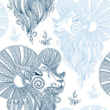 Winter seamless pattern with head sheep and snowflakes.Symbol 20. 15 year sheep.Use for fabric,Wallpaper,background,wrapping paper. Mehendi style Royalty Free Illustration