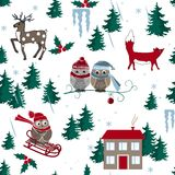 Winter seamless pattern with house, owls, fox, and forest. Vector illustration. Winter seamless pattern with house, owls, fox, and forest. Vector background Royalty Free Stock Photography