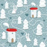 Winter seamless pattern with houses, trees and rabbits Stock Photo
