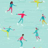 PrintWinter seamless pattern with ice-skating people characters. Vector illustration Royalty Free Stock Photo