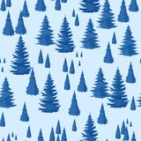 Winter seamless pattern. Landscape with fir forest.  Royalty Free Stock Images