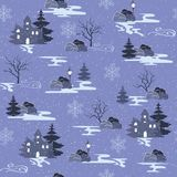 Winter seamless pattern in nordic style. Christmas vector illustration with forest landscapes and houses in the snow