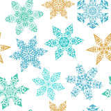 Winter seamless pattern with ornamental snowflakes Royalty Free Stock Image