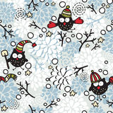 Winter seamless pattern with owl and snow. Royalty Free Stock Photo