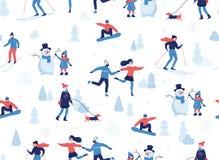 Winter seamless pattern. People having winter activities in park, skiing, skating, snowboarding, girl walking the dog. Girl making a cute snowman, cartoon royalty free illustration