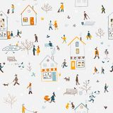 Winter seamless pattern with people walking in city Royalty Free Stock Image