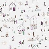 Winter seamless pattern with people walking in city Royalty Free Stock Photo