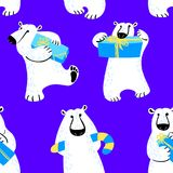 Winter seamless pattern with polar bear. Background with animal Stock Image
