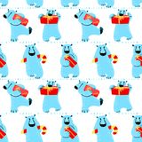 Winter seamless pattern with polar bear. Background with animal Stock Images