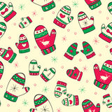 Winter seamless pattern with red-green mittens Royalty Free Stock Images