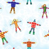 Winter seamless pattern with snow angel people Stock Photo