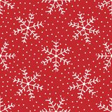 Winter seamless pattern with snowflakes drawn by hand. Grunge, sketch, watercolor. stock illustration