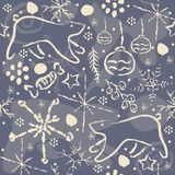 Winter Seamless Pattern with snowflakes and funny doodles Royalty Free Stock Images