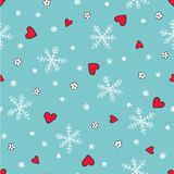 Winter seamless pattern with snowflakes, hearts and flowers. Winter seamless pattern with hand drawn snowflakes, hearts and flowers. Winter background. Vector Stock Image