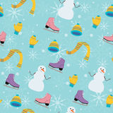 Winter seamless pattern with snowman on turquoise background. Stock Images