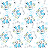 Winter. Seamless pattern with snowmen.   Hand-drawn illustration. Vector Royalty Free Stock Photography