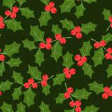 Winter seamless pattern with stylized holly leaves Royalty Free Stock Photography
