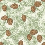 Winter seamless pattern with stylized pine Royalty Free Stock Images