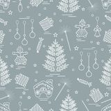 Winter seamless pattern with variety Christmas elements:  tree,. Balls, petard, sparkler, gingerbread man and house, bell, gifts, stars. Design for banner Royalty Free Stock Images