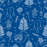 Winter seamless pattern with variety Christmas elements:  tree,. Balls, petard, sparkler, gingerbread man and house, bell, gifts, stars. Design for banner Stock Photography