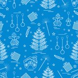 Winter seamless pattern with variety Christmas elements:  tree,. Balls, petard, sparkler, gingerbread man and house, bell, gifts, stars. Design for banner Stock Photo