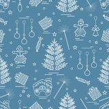 Winter seamless pattern with variety Christmas elements:  tree,. Balls, petard, sparkler, gingerbread man and house, bell, gifts, stars. Design for banner Stock Images