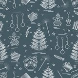 Winter seamless pattern with variety Christmas elements: tree,. Balls, petard, sparkler, gingerbread man and house, bell, gifts, stars. Design for banner, flyer Stock Illustration