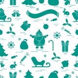 Winter seamless pattern with variety Christmas elements:  tree,. Balls, petard, scarf, Santa Claus, bell, gifts and other. Design for banner, flyer, poster or Royalty Free Illustration