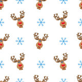 Winter seamless pattern. With white reindeers and snowflakes on white background Stock Photos