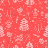 Winter Seamless Pattern With Variety Christmas Elements:  Tree, Stock Photos
