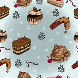 Winter seamless patterns with gingerbread cookies. stock illustration