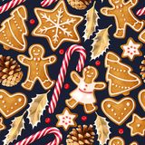 Winter seamless patterns with gingerbread cookies. On light background royalty free illustration