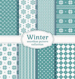 Winter seamless patterns. Vector set. Stock Photo
