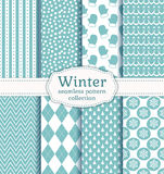 Winter seamless patterns. Vector set. Set of winter backgrounds. Collection of seamless patterns with pale blue and white colors. Vector illustration Royalty Free Stock Photos