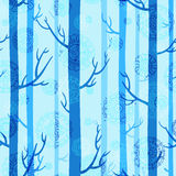 Winter seamless texture with trees. Winter seamless texture in blue colors with trees and lacy snowflakes vector illustration